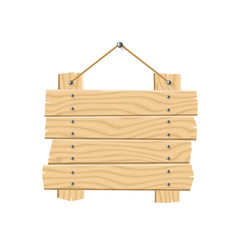 hanging wooden planks sign board with rope vector image