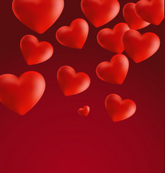 Hearts in red background4 vector