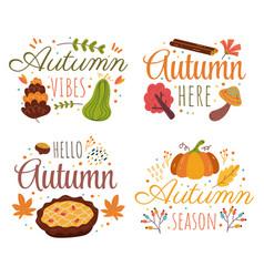 hello autumn decorative label isolated design vector image