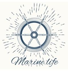 helm and vintage sun burst frame Marine life vector image