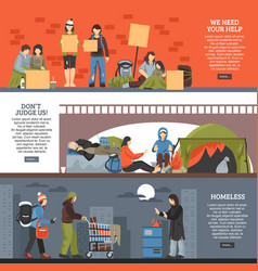 Homeless people horizontal banner set vector