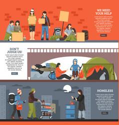 Homeless people horizontal banner set vector