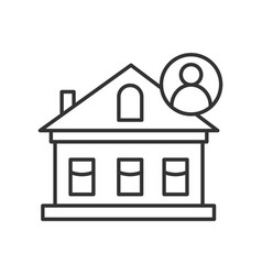 House icon private suburb cottage with resident vector