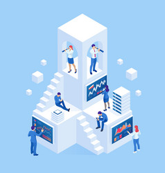Isometric business people analyzing a financial vector