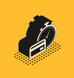 Isometric fast payments icon isolated on yellow vector