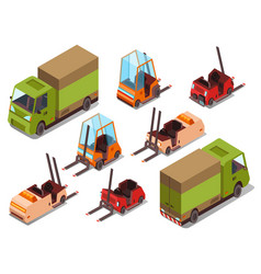 Isometric loader trucks vector