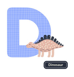 Kids alphabet letter d cute nursery dinosaur vector