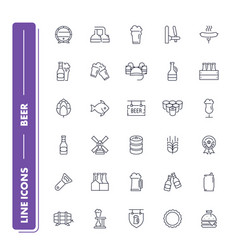Line icons set beer vector