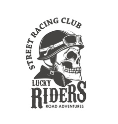 Lucky riders Street racing club Skull in racer vector