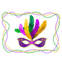 mardi gras mask with feathers on a colored bead vector image
