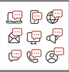 media and devices symbols with speech bubbles line vector image