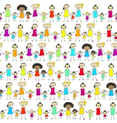 Mums Daughters Pattern vector image
