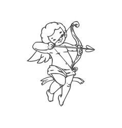 naked boy cupid with arrow and bow vector image