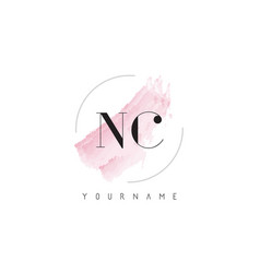 Nc n c watercolor letter logo design with vector