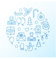 new year blue creative line vector image