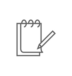 Notepad with pencil line icon vector image