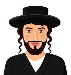 Orthodox jewish man portrait with hat in a black vector