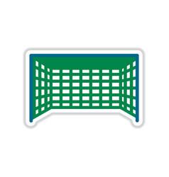Paper sticker on white background football goal vector