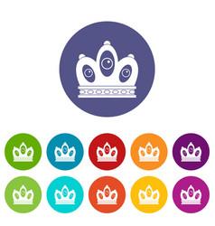 Queen crown icons set flat vector