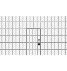 Realistic metal prison bars with jail door vector