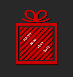 Red gift box from paper ribbon with happy new vector