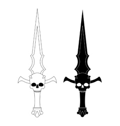 Ritual dagger Sharp blade with skull Contour vector image