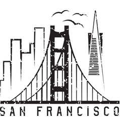 san francisco skyline grunge design template vector image