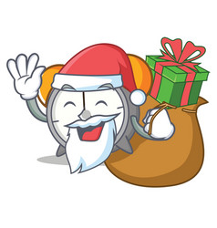 Santa with gift alarm clock mascot cartoon vector