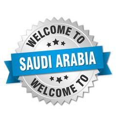 saudi arabia 3d silver badge with blue ribbon vector image