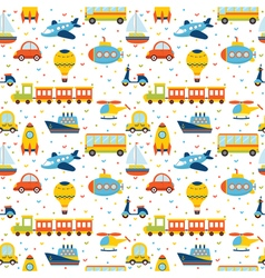 Seamless pattern with colorful cartoon transport vector image