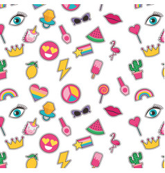seamless pattern with fashionable patches comic vector image