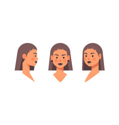 set girl head avatar front side view female vector image