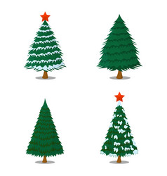 set of tree xmas isolated icon cartoon style for vector image