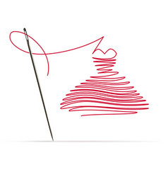 Sewing needle with a red thread in the form vector