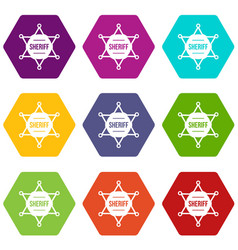 sheriff badge icon set color hexahedron vector image