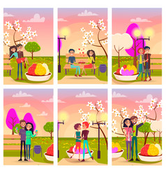 Six cards of loving couples at flowering spring vector