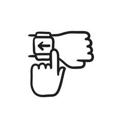 Smartwatch sketch icon vector