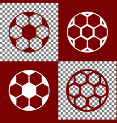 Soccer ball sign bordo and white icons vector