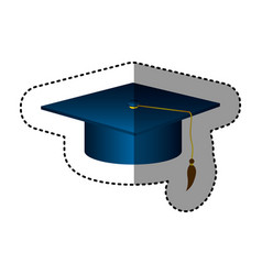 sticker silhouette dark blue graduation hat vector image