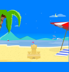 summer beach background at night time sand castle vector image