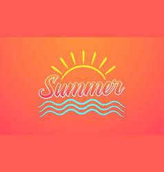 sunny design of summer lettering vector image