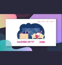 Tv night show with guest website landing page vector