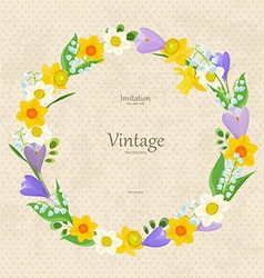 Vintage invitation card with wreath of fine spring vector