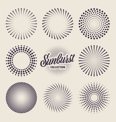 vintage sunburst collection bursting sun rays and vector image