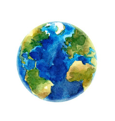 Watercolor earth planet vector