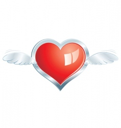 winged steel heart vector image