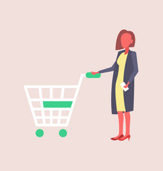 woman holding trolley cart buying products big vector image