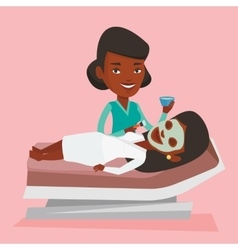 Woman in beauty salon during cosmetology procedure vector