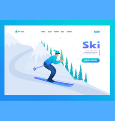 young man skiing in christmas vacation vector image