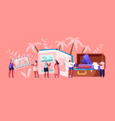 young people after vacation concept tiny vector image